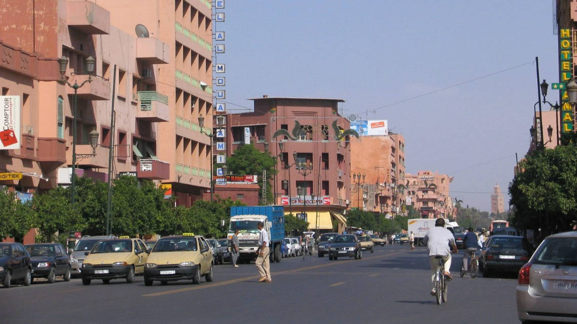 Dans les rues de Marrakech, quartier de Gueliz