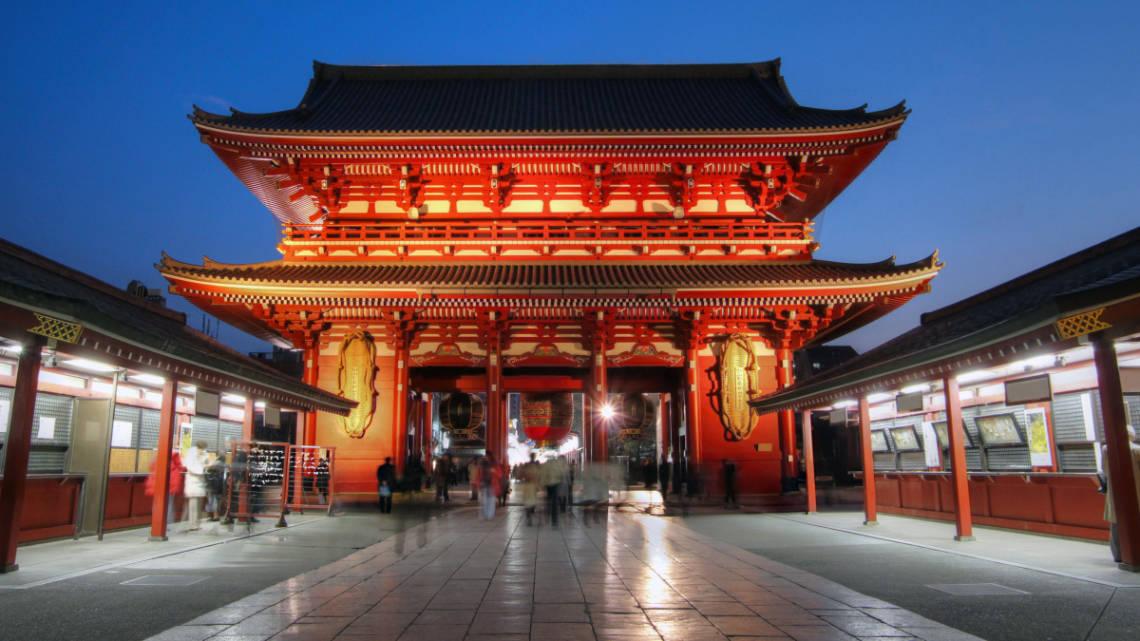 Temple Senso-ji la nuit, dans le quartier Asakusa